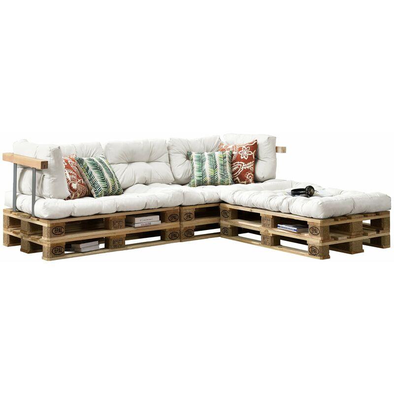 Helloshop26 - 3x coussins de Siège et 5x coussins de dossier pour canapé palette blanc - Blanc