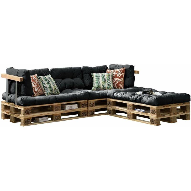3x coussins de siège et 5x coussins de dossier pour canapé palette gris foncé - Gris