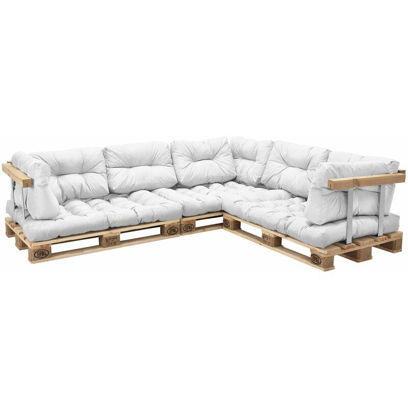 Helloshop26 - 3x coussins de Siège et 8x coussins de dossier pour canapé palette blanc - Blanc