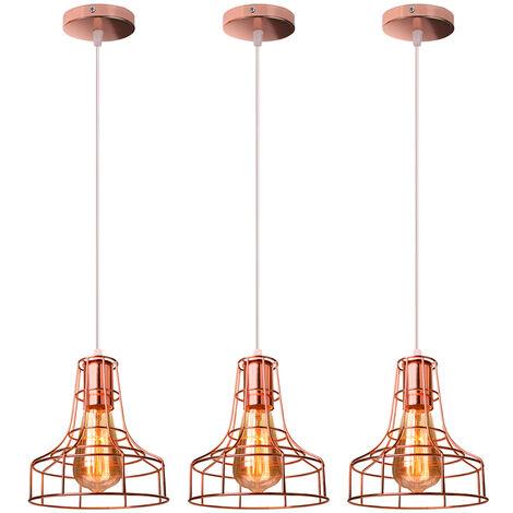 3x Creative Vintage Chandelier Industrial Pendant Light Retro Metal Hanging Lamp for Living Room Kitchen Home Decoration Rose Gold