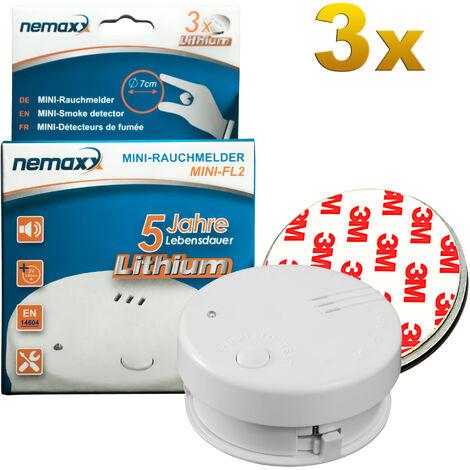 3x Detector de humo Nemaxx Mini-FL2 Mini Detector de Fuego y humo con batería de litio de acuerdo con la norma DIN EN 14604 + 3x Nemaxx Fijación magnética