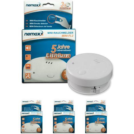 3x detector de humo Nemaxx Mini-FL2 Mini Detector de Fuego y humo detector con batería de litio de acuerdo con la norma DIN EN 14604