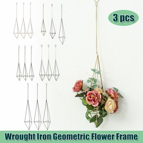 3x Geometric Flower Pot Iron Plant Stand Frame Display Stand Garden Decor Holder (Bronze, LMS 3pcs)