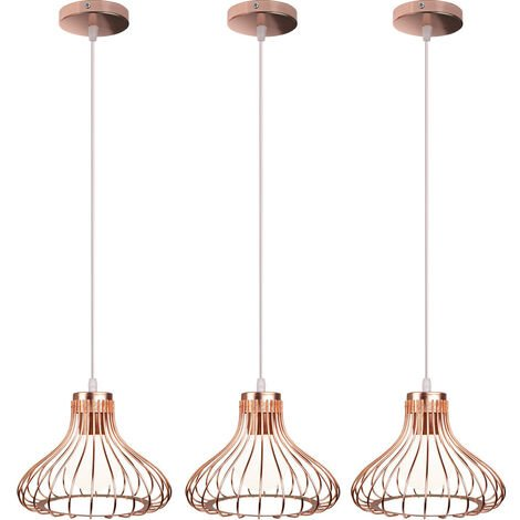 3x Height Adjustable Ceiling Light Vintage Industrial Pendant Light Rose Gold Creative Retro Chandelier for Indoor Decoration Bedroom Cafe Bar