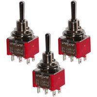 3x Interrupteur commutateur à levier DP3T (ON)-OFF-(ON) 2A/250V 1 position