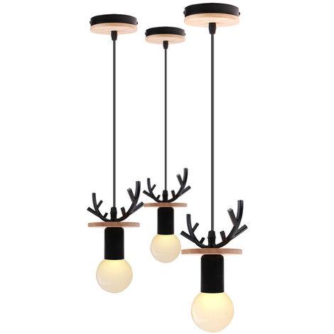3x Lámpara de Araña Creativa de Ciervos Lámpara Colgante de Cornamenta Rural Lámpara de Techo Retro para Cafe Bar Office Negro