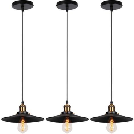 3X Lámpara de Araña Industrial Retro Lámpara de Techo de Hierro Forjado para Comedor Dormitorio Pasillo Escaleras Negro 22cm