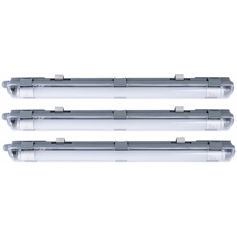 3x LED bañeras lámparas techos taller industrial luces de día sala húmeda