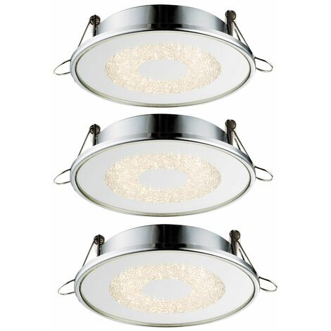 3x LED empotrado en el techo iluminación cristales redondos salón comedor lámparas espejo  Globo 12006-3