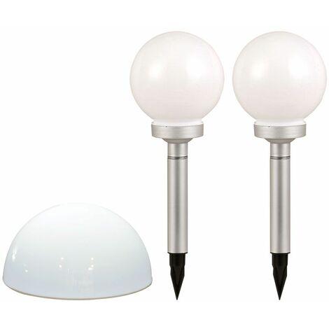 3x LED Enchufe Solar Steh Lamps White Garden Path Iluminación Exterior Esfera de Pared Luces Terraza