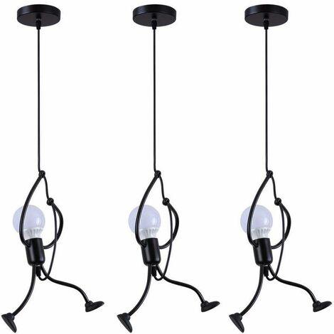 3x Lustre Suspension Créatif Petite Personnage en Métal Fer Gens Design Personne Luminaire pour Salon Chambre Enfant, E27 Noir