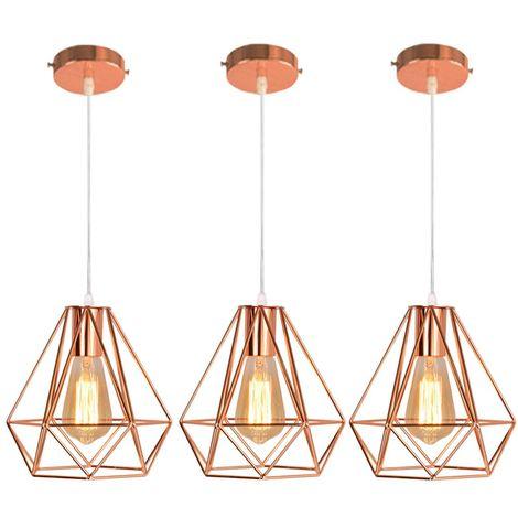 3x Moderne Lustre Suspension Forme Diamant, Lampe de Plafond Abat-Jour Luminaire Métal Style industrielle Décor,Or Rose