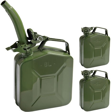 3X Monzana gasoline canister 5 L incl. pouring spout. UN approval metal diesel fuel canister canister container
