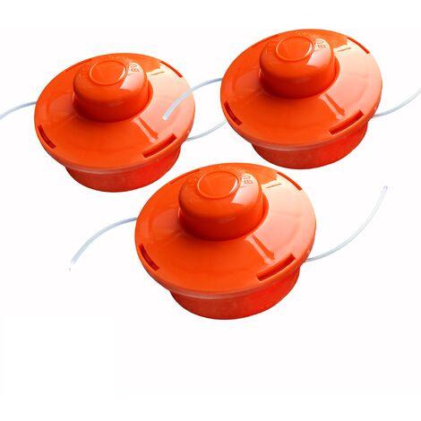 3x Nemaxx FS1 cabezal de doble hilo semiautomático - cabezal de corte de siega -accesorios de corte - hilo de nylon - carrete para desbrozadora gasolina – naranja