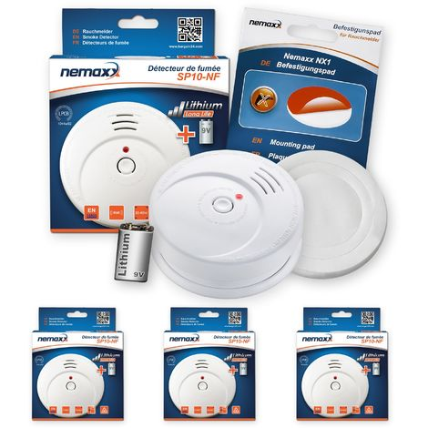 3x Nemaxx SP Rauchmelder Rauchwarnmelder fotoelektrisch nach DIN EN14604 mit 9V Lithiumbatterie mit 10 Jahren Lebensdauer + NX1 Befestigungspad