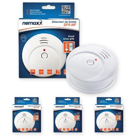 3x Nemaxx SP5-NF Detector de humo de alta calidad con pila incluida de 9V - Blanco