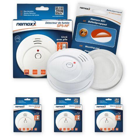 3x Nemaxx SP5-NF Detector de humo de alta calidad con pila incluida de 9V - Blanco + NX1 Pad de fijación