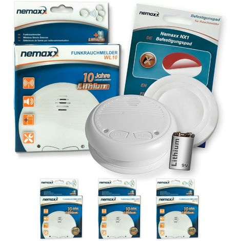 3x Nemaxx WL10 Funkrauchmelder - mit 10 Jahre Lithium Batterie Rauchmelder Feuermelder Set Funk koppelbar vernetzt - nach DIN EN 14604 + 3x NX1 Quickfix Befestigungspad