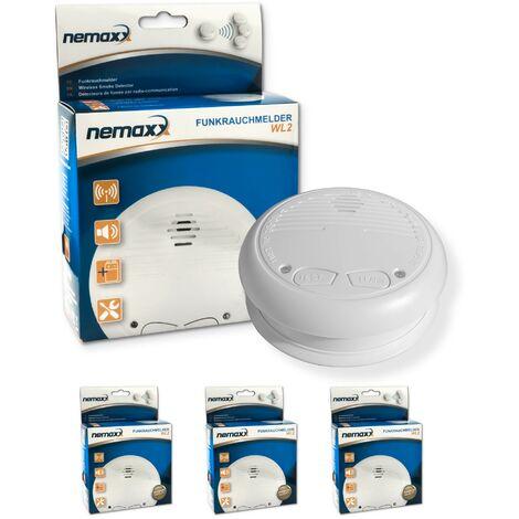 3x Nemaxx WL2 Funkrauchmelder - hochwertiger Rauchmelder Brandmelder Set Funk koppelbar vernetzt - nach DIN EN 14604