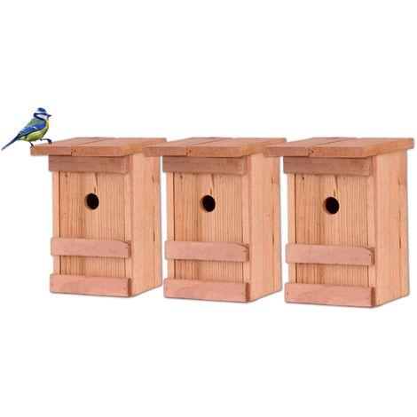 3x Nistkasten Meisen Meisennistkasten Nistkästen Vogelhaus Vogelhäußchen Massivholz Vogelhaus 25 x 14,5 x 12 cm Einflugloch 28mm