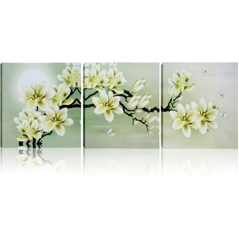 3X Oil Painting Abstract Painting Magnolia Pop Canvas Art Wall Decor 50X50Cm Hasaki