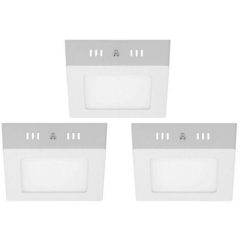 3x Pack Combinée lampe blanc froid place 6W panneau LED plafond lampe Surface Surface
