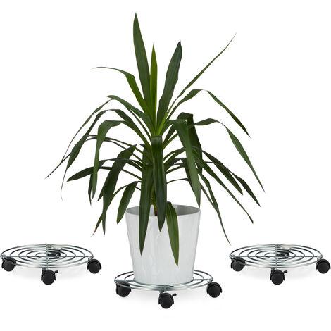 3x Pflanzenroller, Blumenroller mit Bremse, rund, Blumentopfuntersetzer aus Stahl, HBT: ca. 6 x 32 x 32 cm, silber