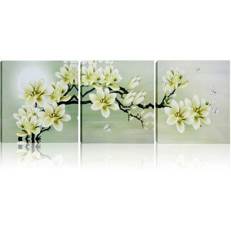 3x Pintura al óleo Pintura abstracta Magnolia Pop Canvas Art Decoración de la pared 50x50cm