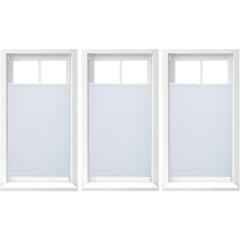3x Plissee Rollo ohne Bohren, Klemmfix zum Kleben, Faltrollo lichtdurchlässig, Faltstore weiß, B x H: ca. 100 x 130 cm