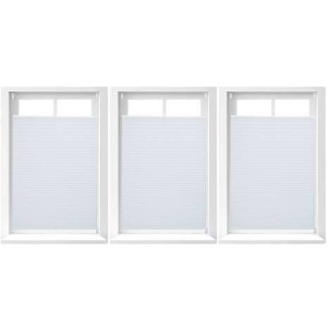 3x Plissee Rollo ohne Bohren, Klemmfix zum Kleben, Faltrollo lichtdurchlässig, Faltstore weiß, B x H: ca. 80 x 130 cm