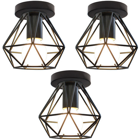 (3x) Retro Industrial Chandelier Metal Cage Ceiling Light Creative Vintage Pendant Light for Indoor Bar Club Black