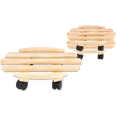 3x Rolluntersetzer Pflanzroller 35 cm - Max. 100 kg Traglast - Aus Buchenholz - Stabil & robust - Für Pflanztöpfe, Möbel & schwere Gegenstände -