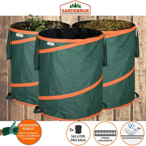 3x Sac de déchets de jardin 165L max. 30kg par sac tissu hydrofuge renforcé ordures bac