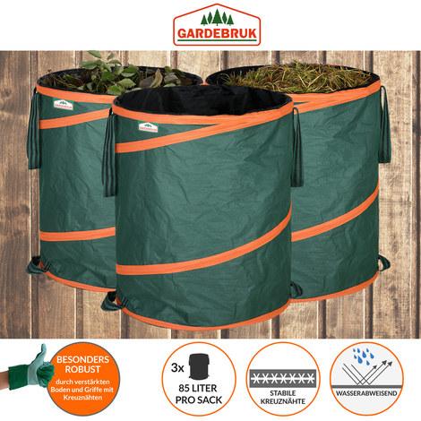3x Sac de déchets de jardin 85L max. 30kg par sac tissu renforcé hydrofuge ordures bac