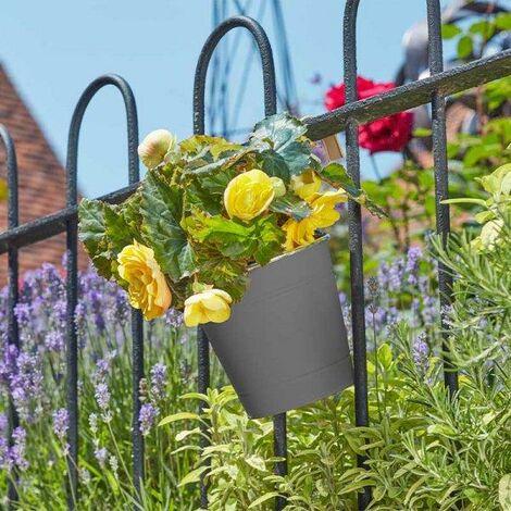 3x Smart Garden 15cm 6 Inch Fence Balcony Hanging Pot Basket Slate Grey Planter