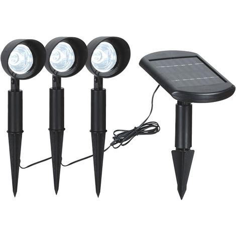 3x Spots LED avec panneau solaire déporté 9x0,06W IP44 6400K