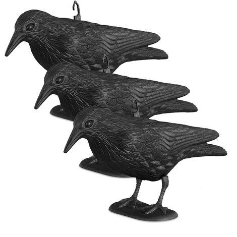3x Taubenschreck Krähe, Dekofigur als Vogelscheuche, stehende Figur für Taubenabwehr, Gartenfigur, wetterfest, schwarz
