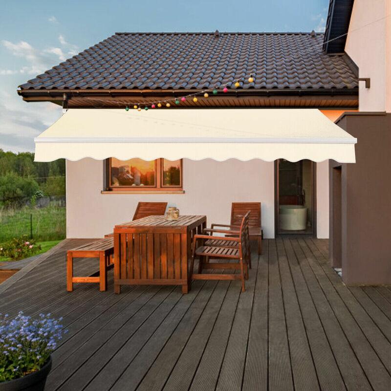 3x2.5m Patio Standard Manual Awning Garden Canopy Sun Shade Retractable Shelter