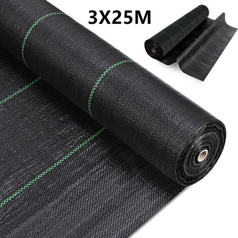 3x25M Weed Membrane Control Fabric Heavy Duty Ground Cover Membrane for Flower beds, Landscaping, Garden