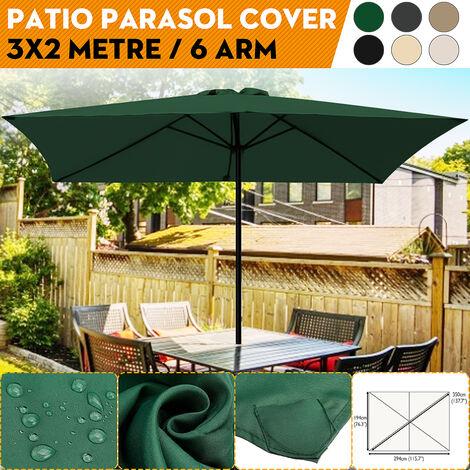 3x2m 6 bras de remplacement couverture de l'auvent de parasol de jardin Protection UV étanche (beige)