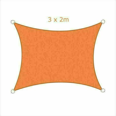 3x2m Sun Sail Shade Rectangular Awning Canopy Garden Sun Patio Sunscreen - Orange