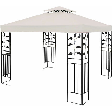 3x3m Garden Gazebo Top Cover Roof Replacement Tent Canopy Fabric 2-Tier Cream