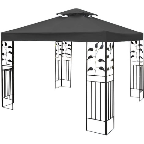 3x3m Garden Gazebo Top Cover Roof Replacement Tent Canopy Fabric 2-Tier Dark Grey