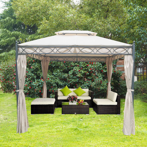 3x3m Metal Gazebo Canopy Party Tent Garden Pavillion Patio Awning Canopy Sun Shade Screen Shelter Sand