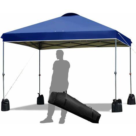 3x3m Toldo de Exterior Plegable Cenador de Jardín Pabellón de Patio para Fiesta Bolsa Camping Azul