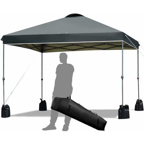 3x3m Toldo de Exterior Plegable Cenador de Jardín Pabellón de Patio para Fiesta Bolsa Camping Gris