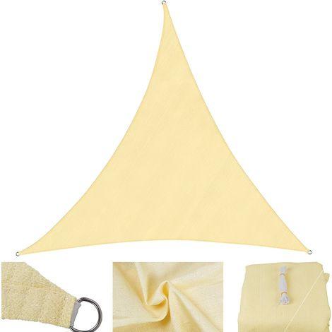 3x3x3 m Vela de protección solar arena - triángulo - vela de protección contra el viento de