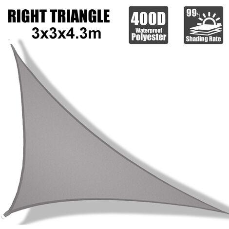 "main image of ""3X3X4.3m Gray Triangle Shade Sail 300D"""