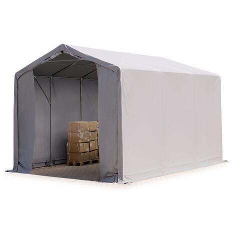 3x6m hangar INTENT24, PVC d'env. 550 g/m², H. 3m avec portes à fermeture Eclair