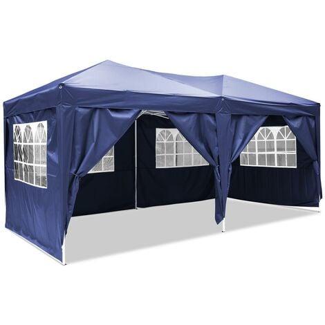 3X6M Tente de réception pliant Tonnelle pour différentes activités avec panneau latéra et sac transport Bleu - Bleu